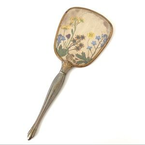 Vintage Hand Held Gold Mirror with Floral Design